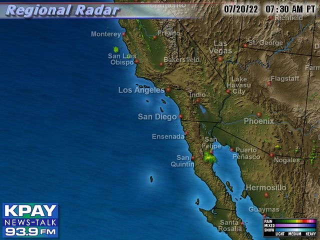 Southwest US Doppler Radar Map on